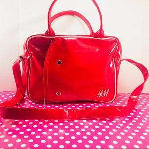 H& M Medium Red Shiny Book Bag/Computer Bag